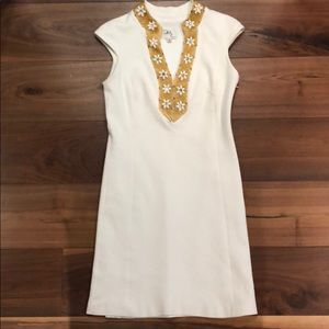 Milly winter white dress with gold bead detail